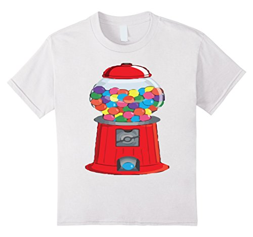 [Kids Gumball Machine Bubblegum Halloween Costume T-Shirt 12 White] (Gumball Machine Girls Costumes)