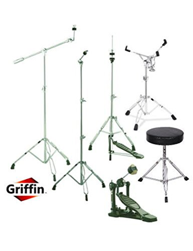 Complete Drum Hardware Pack 6 Piece Set by Griffin | Full Size Percussion Stand Kit with Snare, Hi-Hat, Cymbal Boom, Throne Stool and Single Kick Drum Pedal | Lightweight and Portable|Perfect for Gigs