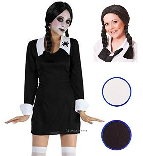 Party Central Women's Creepy School Halloween Fancy Costume With Wig Face Paint UK 8-14 (Halloween Face Paint Uk)
