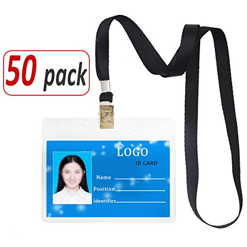 Plastic Holder Clear Cover Label (Aobear 50 pcs Upgrade Durable Waterproof Transparent Horizontal Name Tag id Badges and 50 pcs lanyards (Black))