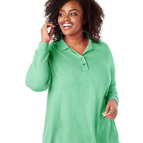 Woman Within Women's Plus Size Long-Sleeve Tunic Polo Shirt - Vibrant Clover, M