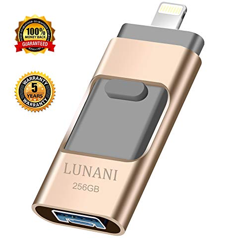 USB Flash Drive for iPhone_ LUNANI iPhone Flash Drive 256GB photostick Mobile for iPhone USB 3.0 iPhone External Storage,Android,PC Photo iPhone Picture Stick(Gold)