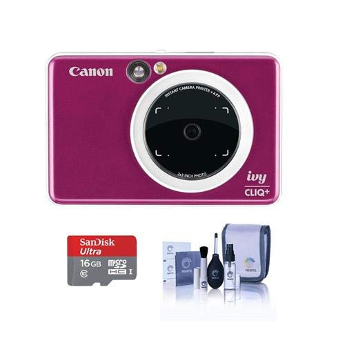 Canon Ivy Cliq+ Instant Camera Printer – Ruby Red – Bundle with 16GB MicroSDHC Card. Cleaning KIt