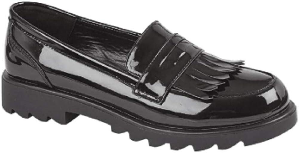 GladRags Girls Slip On Black Patent School Shoes Size 13 1 2 3 4 5 Infant Junior Tassel Detail