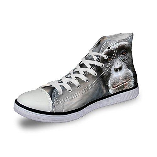 Bigcardesigns Heren Casual Hoge Top Canvas Schoenen 3d Dieren Veter Sneakers Sneakers Orangutan