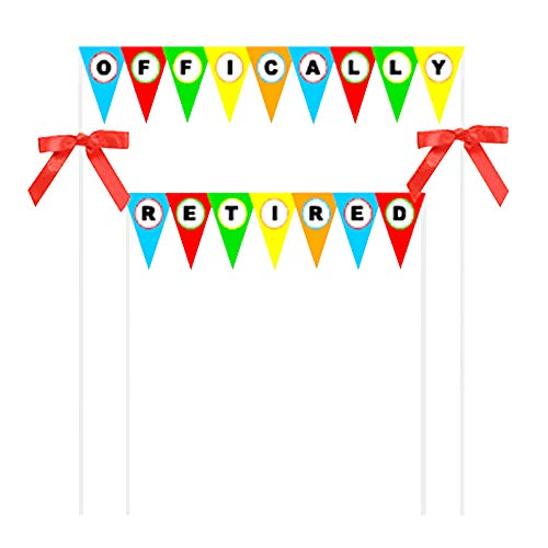 (Officially Retired Sign Bright Rainbow White Officially Retired Retirement Bunting Cake Decoration Food Topper With Bow Superior Quality Make Your Cake Super Elegant Approximately 5 X 9 inches)