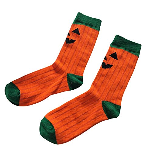 Womens Cute Halloween Casual Novelty Cotton Business Warm Crew No Show Non Slip Sports Socks (Orange)
