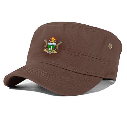 Riggio Fashionable Coat of Arms of Zimbabwe Adjustable Cotton Adult Flat Cap Coffee