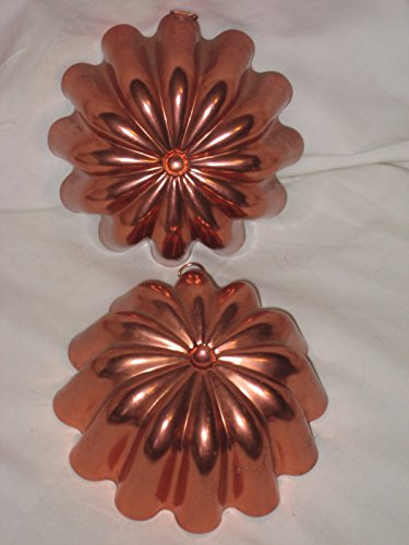 Set Of 2 - Vintage Coppertone Flower 3 1/2 Cup Jell-O Mold Cake Pan