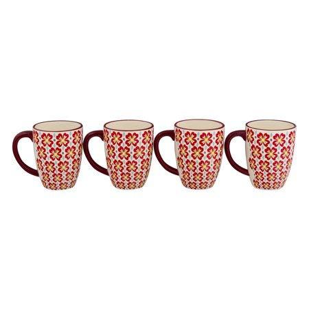 The Pioneer Woman Retro Daisy 26-Ounce Jumbo Latte Mug Set, 4-Pack -