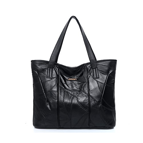 SDINAZ Dama bolso mano moda casual Cuero PU Suave hombro bolsa messenger bag bolso grande Negro