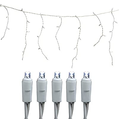 NIDENIONLED Led Icicle Lights, 120V UL100 Led 20 Drops 10.5ft Connectable String Lights, Cool White Clear Icicle Lights for Indoor, Outdoor, Party, Christmas, Holiday, Bedroom Decoration