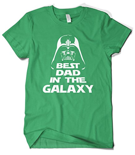 (Cybertela Men's Father's Day Gift Best Dad in The Galaxy T-Shirt (Kelly Green, Large))