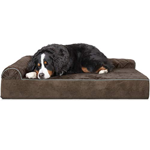 - FurHaven Pet Dog Bed | Deluxe Orthopedic Goliath Quilted L-Chaise Couch Pet Bed for Dogs & Cats, Espresso, 3XL