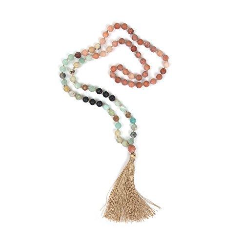 Shinus OKIKO 108 Mala Beads Necklace Tassel Long Boho Statement for Women Yoga Meditation Gemstone Amazonite/Lava Stone/Aventurine