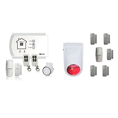 JEIKO Sistema de alarma inalámbrica con transmisor telefónico GSM integrado, 2 detectores de movimiento,