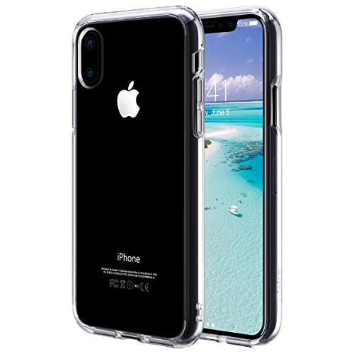 iPhone X Hülle, ULAK Crystal Clear Transparente PC Zurück Soft Flexible Thin Gel TPU Stoästange Haut Kratzer Resistant Case Cover für iPhone X 5,8 Zoll(Klar)