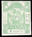 North Borneo Scott 42 8c Imperforate Coat of Arms. Unused lightly hinged.