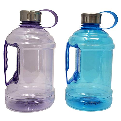 Sports Water Bottle Jug 33 oz / 1 L with Carrying Handle, Leak Proof, Nonporous Glass Like Material for Hiking Workout Office Home | 0.26 Gallon | BPA Phthalate Free-Assorted Colors,Drink More Water! ()