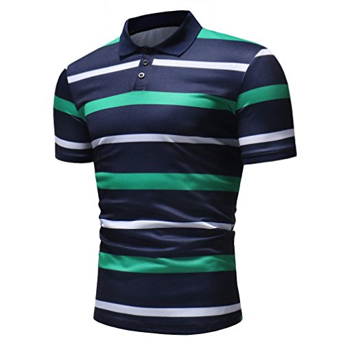 vermers Mens Fashion Polo Shirts Summer Casual Buttons Striped Short Sleeve T Shirt(M, Green) by vermers (Image #3)