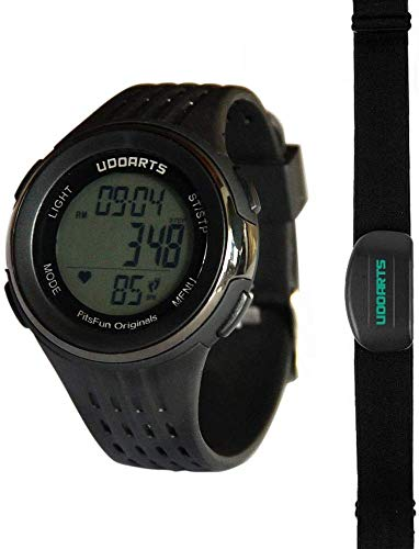 UDOARTS HRM with Pedometer-Heart Rate Monitor Watch & Chest Strap 2&Pack of 5 Batteries &Screwdriver