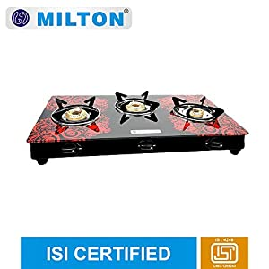 MILTON ISI Certified Premium 3 Burner Glass Top Manual LPG Stove with MS Frame and Brass Burners (Red, 75×42.5×13.5cm)