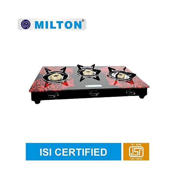 milton premium 3 burner glass top LPG stove