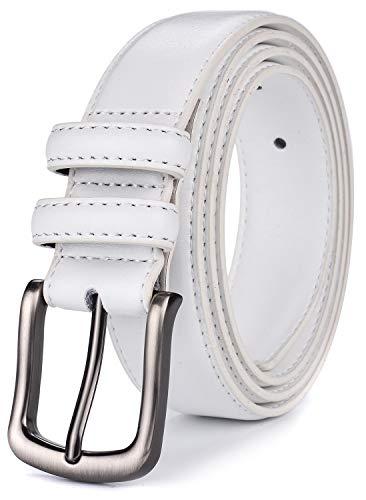 Belt White Genuine (Mens Belt,HW Zone Genuine Leather Dress Belt Classic Casual 1 1/4