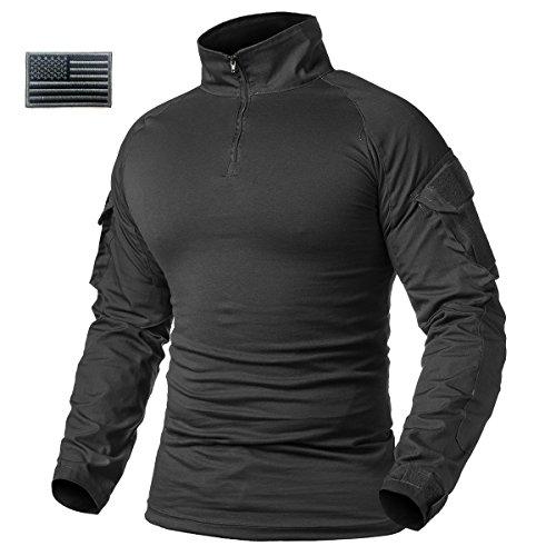ReFire Gear Men's Military Tactical Army Combat Long Sleeve Shirt Slim Fit Camo T-Shirt with 1/4 Zipper, Black, US Medium(Tag XL)