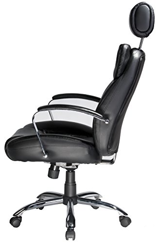 046854158009 - Comfort Products 60-5800T Commodore II Oversize Leather Chair with Adjustable Headrest, Black carousel main 3