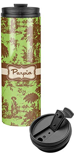 (Green & Brown Toile Stainless Steel Tumbler (Personalized))