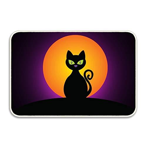 rtening Cat Black Halloween Moon Silhouette Door Mat Floor Mat Rug Indoor/Outdoor/Front Door/Bathroom Mats ()