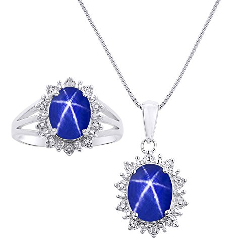 Diamond & Blue Star Sapphire Matching Pendant Necklace and Ring Set In 14K White Gold with 18