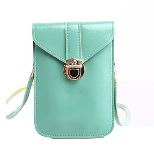 Women Shoulder Handbags Mini Bag yellow mint Pouch Single Crossbody green Cellphone Purse YaJaMa Leather BYdwqB