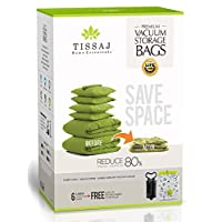 Tissaj Travel Compression Space Saver Bags 6 Pack (Large) Now Store More Clothes While Travelling by Shrink & Vacuum Storage - Free Compact Travel Hand Pump