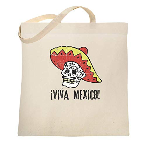 Viva Mexico Day of the Dead Sugar Skull Mariachi Natural 15x15 inches Canvas Tote Bag ()