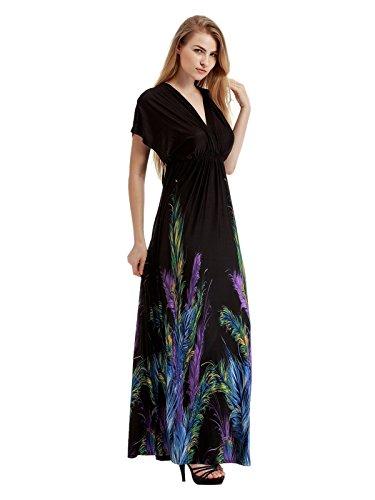 Maggie Tang Pretty Print V Neck Cap Sleeve Casual Club Beach Maxi Dress 02 XL