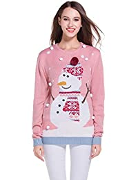 Women's Christmas Cute Snowman Snowflake Knitted Sweater Girl Pullover