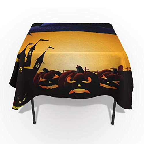 60 x 84 Inch Rectangle Tablecloth - Happy Halloween Pumkin Rectangular Polyester Table Cloth Table Covers Linen Decor - Great for Kitchen Table, Parties, Holiday Dinner, Wedding & More ()