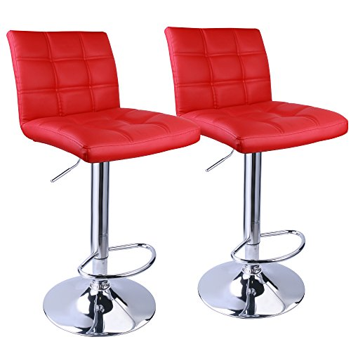 Leopard Adjustable Bar Stools Square Back, Leather Padded with Back, Set of 2 (Red) (Stools Red Bar)