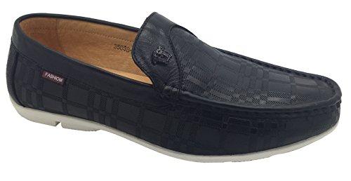 ShuCentre , Chaussures bateau pour homme Cuir noir