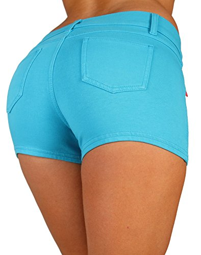 Basic Short Shorts Premium Stretch French Terry Moleton With a gentle butt lifting stitching in Turquoise Size M