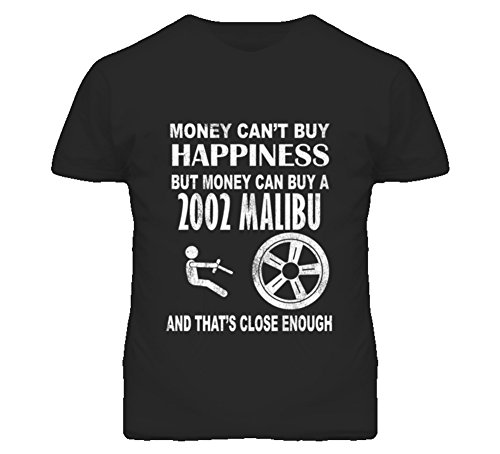 CarGeekTees.com Money Cant Buy Happiness 2002 Chevy Malibu Dark Distressed T Shirt 2XL Black
