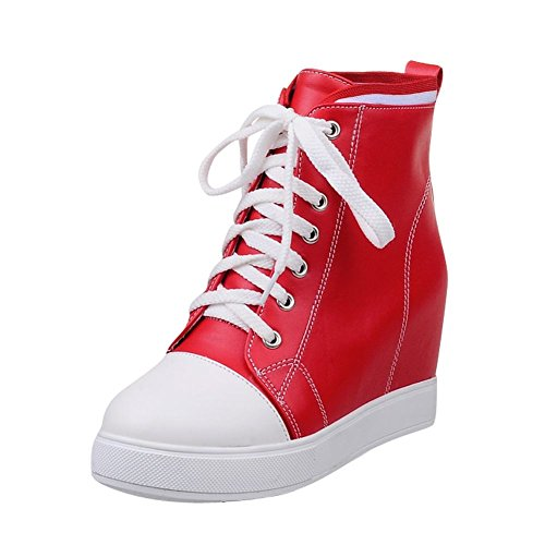 Carolbar Womens Lace-up Couleurs Assorties Plateforme Cachée Talon Mode Sneakers Bottes Rouge