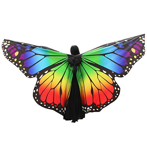 POQOQ Butterfly Wings Shawl Scarves, Christmas Costume for Women Fairy Poncho Wrap Pixie Poncho 260150CM -