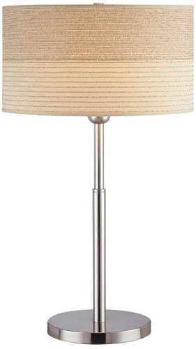 (Lite Source LSF-20751PS Relaxar Table Lamp, Polished Steel, 2-Tone Textured Fabric Shade)