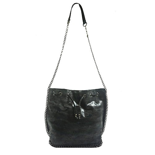 'allegra' Designer Inspired Black Faux Leather Shoulder Handbag By Inzi In-6562ff