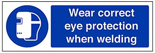 vsafety 41059 ax-s desgaste adecuada protección ocular cuando soldadura obligatorio EPI señal, autoadhesivos