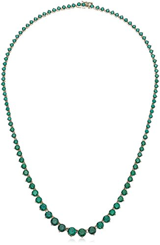 Women's Yellow Gold Plated Sterling Silver Swarovski Zirconia Green Round Shape Tennis Necklace, Size 18 Inches