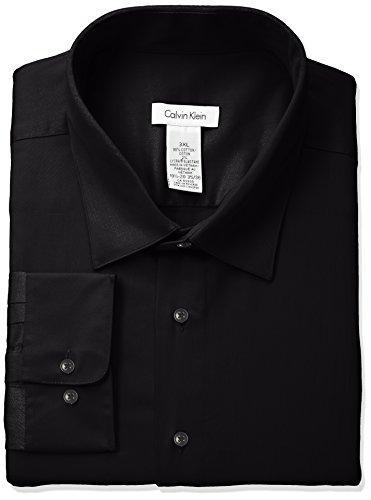 Calvin Klein Men's Regular Fit Stretch Solid Spread Collar Dress Shirt, Black, Medium (Mens Solid Black Dress)